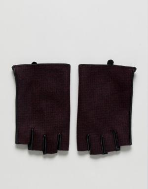 ASOS Бордовые кожаные перчатки без пальцев в клетку. Цвет: красный