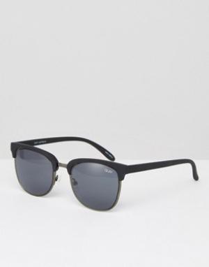 Quay Australia Солнцезащитные очки в стиле ретро Flint. Цвет: черный