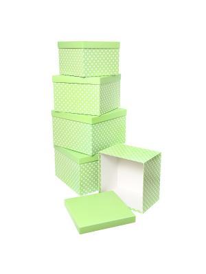 Набор из 5 картонных кубов 22х22х16 - 30х30х20см,  Белый горошек на салатовом VELD-CO. Цвет: салатовый