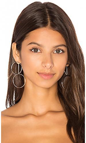Double hoop ear jacket joolz by Martha Calvo. Цвет: металлический серебряный