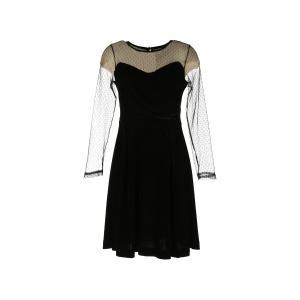 Платье короткое с длинными рукавами и кружевными вставками, расшитыми гладью RENE DERHY. Цвет: черный