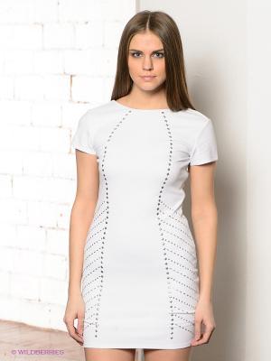 Платье CONVER. Цвет: белый, серебристый