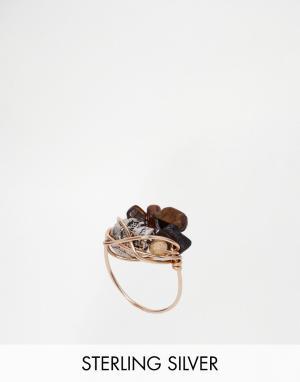 Kat&Bee Витое кольцо с тигровым глазом и черепом Kat & Bee. Цвет: золотой