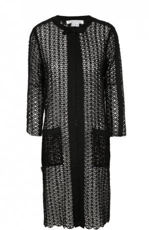 Полупрозрачное пальто с накладными карманами и круглым вырезом Oscar de la Renta. Цвет: черный