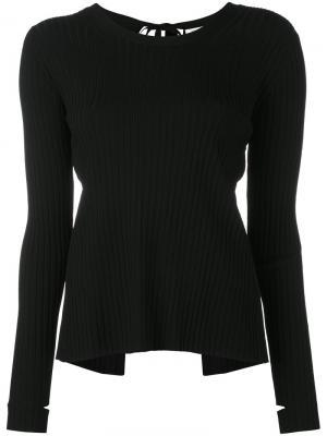 Трикотажная блузка с вырезами на рукавах Helmut Lang. Цвет: чёрный