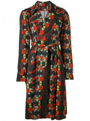 Пальто-тренч с цветочным принтом Area Di Barbara Bologna. Цвет: чёрный