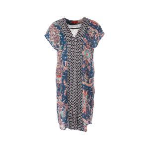 Платье короткое прямое с рисунком и короткими рукавами RENE DERHY. Цвет: наб. рисунок синий