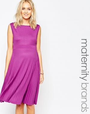 Ripe Плиссированное платье миди для беременных Maternity. Цвет: dahlia