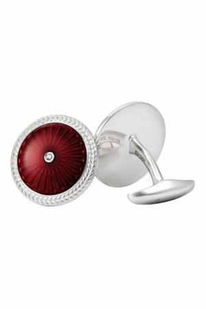 Серебряные запонки с бриллиантами «Эрмитаж» Gourji. Цвет: красный