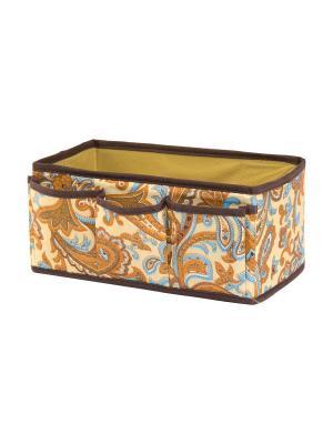 Органайзер для косметики/мелочей Перо павлина EL CASA. Цвет: оранжевый, голубой, коричневый