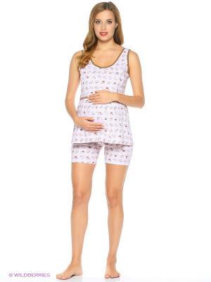 Комплект домашней одежды для беременных и кормления ( майка, шорты) 40 недель. Цвет: розовый