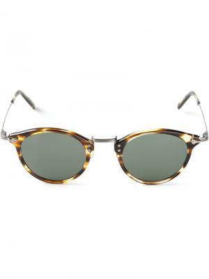 Солнцезащитные очки в черепаховой оправе Masunaga. Цвет: зелёный