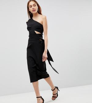 AQ Tall Платье-футляр миди на одно плечо AQ/AQ. Цвет: черный