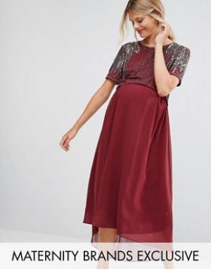Maya Maternity Платье для беременных с отделкой и асимметричным краем. Цвет: красный