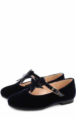 Текстильные туфли с аппликацией и кожаным ремешком Il Gufo. Цвет: синий