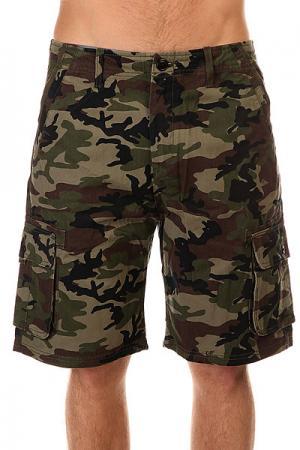 Шорты джинсовые  Deluxe Camoflage Quiksilver. Цвет: зеленый,черный,коричневый