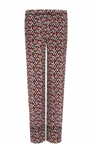 Шелковые брюки прямого кроя с принтом Marni. Цвет: красный