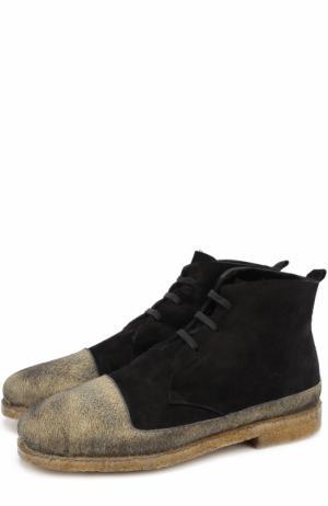 Высокие замшевые ботинки на шнуровке с внутренней меховой отделкой Rocco P.. Цвет: черный