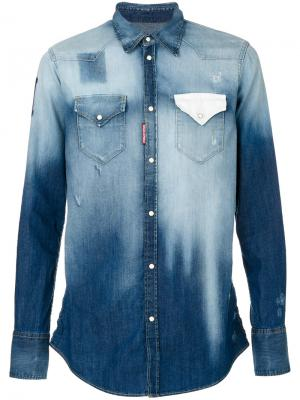 Джинсовая рубашка с градиентным эффектом Dsquared2. Цвет: синий