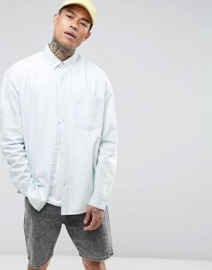 ASOS Выбеленная джинсовая оверсайз-рубашка. Цвет: синий