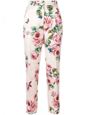 Брюки с розами Dolce & Gabbana. Цвет: розовый и фиолетовый