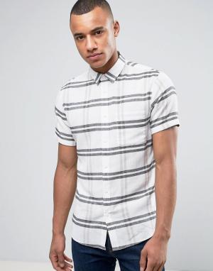 Solid Рубашка в крупную клетку с короткими рукавами. Цвет: бежевый