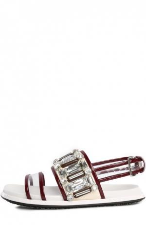 Комбинированные сандалии Fussbett с кристаллами Marni. Цвет: бордовый