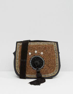 Park Lane Замшевая сумка через плечо с отделкой и кисточками. Цвет: коричневый