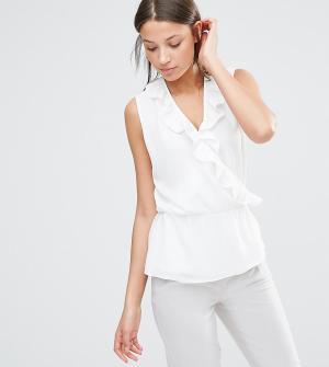 Alter Tall Блузка без рукавов с запахом и оборками. Цвет: кремовый