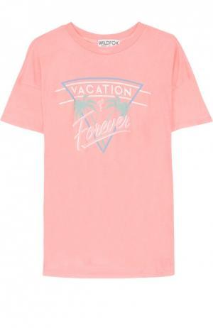 Удлиненная футболка прямого кроя с контрастной надписью Wildfox. Цвет: коралловый