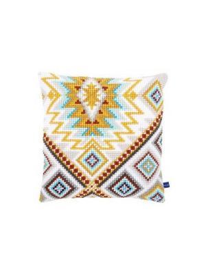 Набор для вышивания лицевой стороны наволочки Этнические орнаменты 2 40*40см Vervaco. Цвет: желтый, белый, голубой, красный