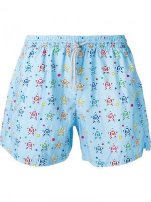Плавательные шорты с принтом в звезды Capricode. Цвет: синий