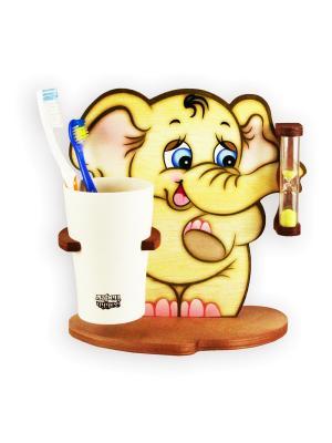 Настольные часы с подставкой для зубных щёток Три минутки - здоровые зубки, Слон Семён Ларец Чудес. Цвет: светло-коричневый, розовый