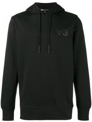 Толстовка с капюшоном черным логотипом Y-3. Цвет: чёрный
