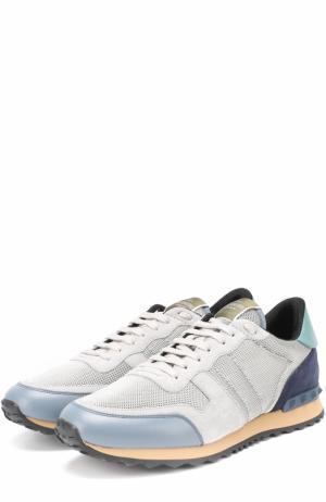 Комбинированные кроссовки  Garavani Rockrunner с контрастной отделкой Valentino. Цвет: светло-серый