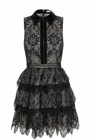 Приталенное кружевное мини-платье Alice + Olivia. Цвет: черный