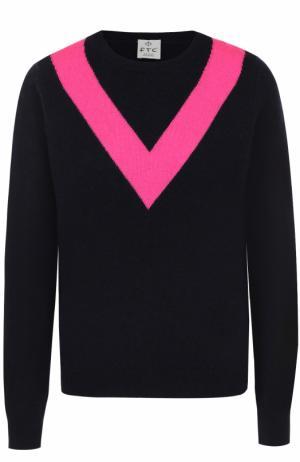 Пуловер с круглым вырезом и контрастной отделкой FTC. Цвет: темно-синий