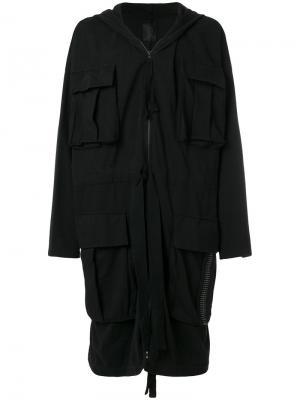 Удлиненное пальто мешковатого кроя Thom Krom. Цвет: чёрный