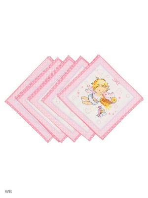 Набор платков носовых детских Римейн. Цвет: розовый, белый