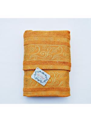 Комплект полотенец Золотой орнамент 2 предмета 50х90, 70х140. La Pastel. Цвет: оранжевый