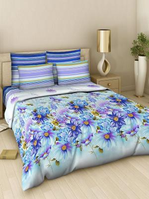 Комплект постельного белья Василиса. Цвет: голубой, сиреневый, фиолетовый