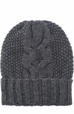 Кашемировая шапка фактурной вязки Kashja` Cashmere. Цвет: серый