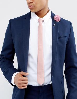 ASOS Узкий галстук и булавка на лацкан пиджака. Цвет: розовый