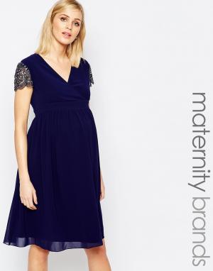 Little Mistress Maternity Короткое приталенное платье для беременных с декорированными рукавами. Цвет: темно-синий