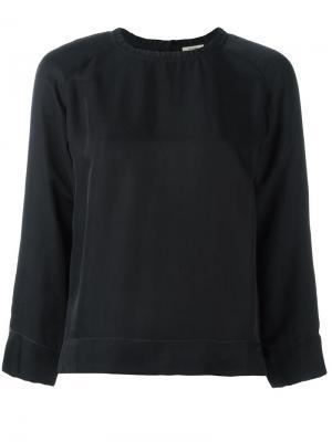 Блузка со сборочным воротником Bellerose. Цвет: синий