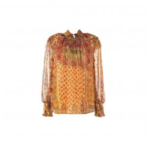 Блузка из вуали с принтом Magnolia RENE DERHY. Цвет: рисунок/желтый