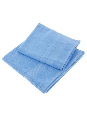 Махровое полотенце голубой 50*90-100% хлопок, в коробке УзТ-ПМ-112-08-06к Aisha. Цвет: голубой