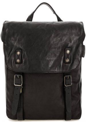 Кожаный рюкзак с откидным клапаном aunts & uncles. Цвет: черный