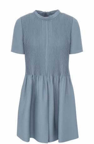 Приталенное мини-платье с плиссированным лифом Valentino. Цвет: голубой