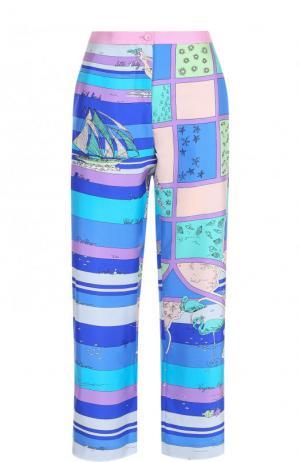 Укороченные шелковые брюки с принтом Emilio Pucci. Цвет: синий